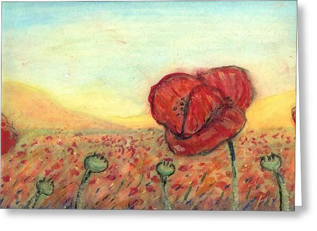 Field Poppies Greeting Card by Robert Wolverton Jr