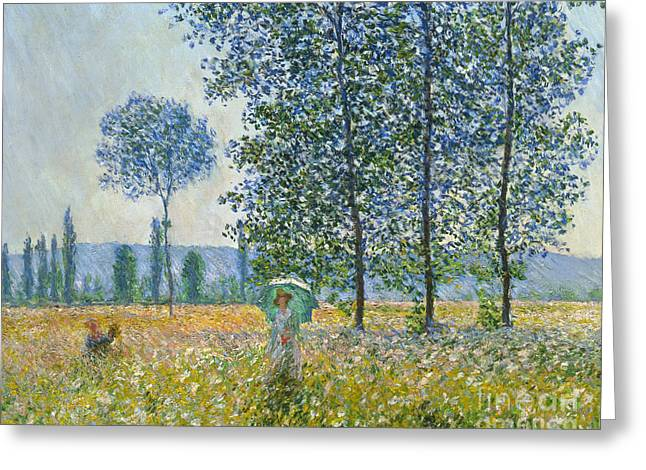 Fields In Spring, 1887 Greeting Card by Claude Monet