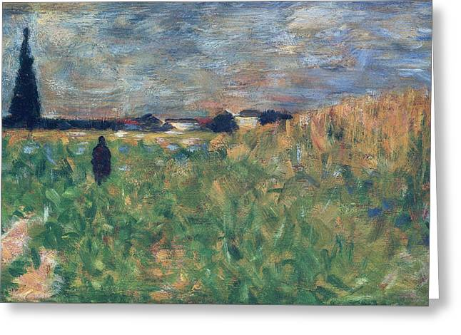 Fields In Summer Greeting Card by Georges Pierre Seurat