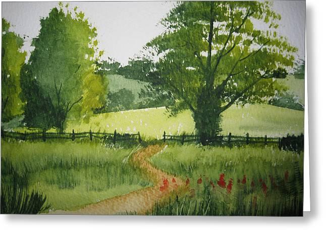 Fields Of Green Greeting Card by Shirley Braithwaite Hunt