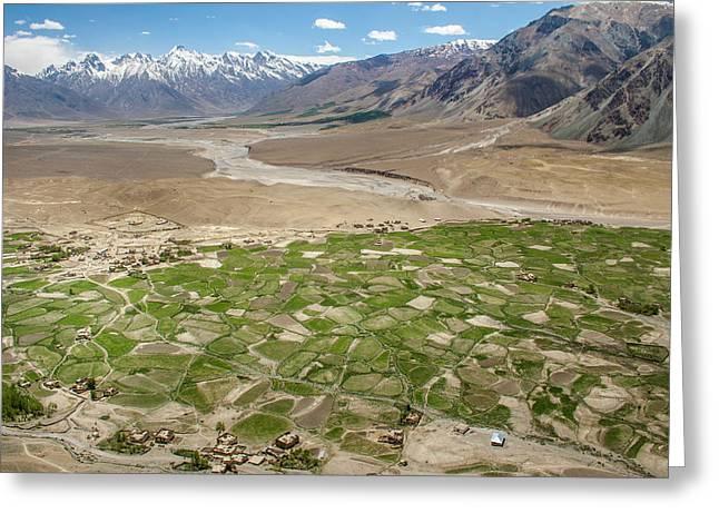 Greeting Card featuring the photograph Fields Of Zangla, Zanskar, 2008 by Hitendra SINKAR