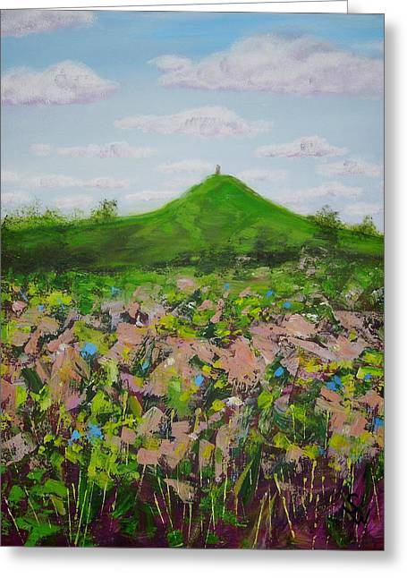 Fields To Glastonbury Tor Greeting Card by Shirley Wellstead
