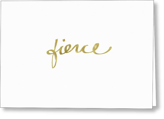 Fierce Gold- Art By Linda Woods Greeting Card by Linda Woods