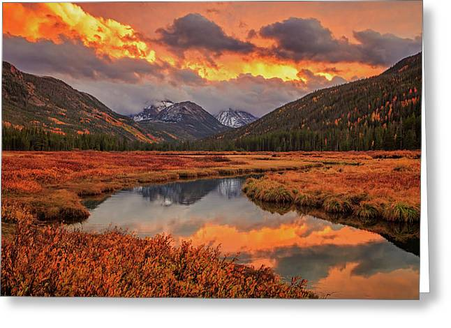 Fiery Bear River Sunset Greeting Card by Johnny Adolphson