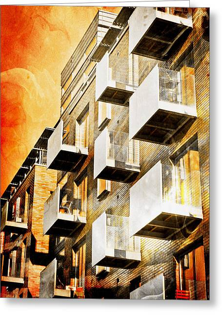 Fiery Building Greeting Card