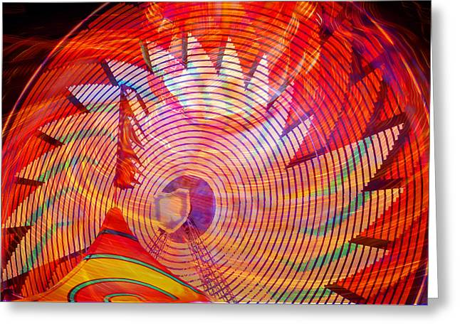 Greeting Card featuring the photograph Fiery Ferris Wheel by David Lee Thompson