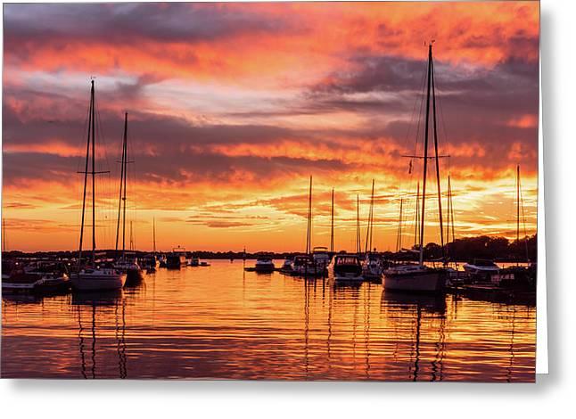 Fiery Lake Norman Sunset Greeting Card by Serge Skiba