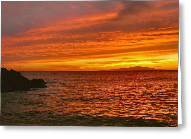 Fiery Makena Sunset Greeting Card by Stephen  Vecchiotti