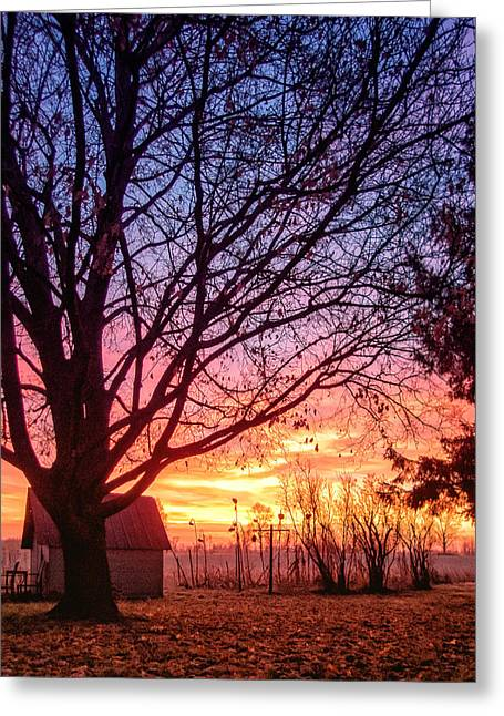 Greeting Card featuring the photograph Fiery Morning Sunrise by Lars Lentz