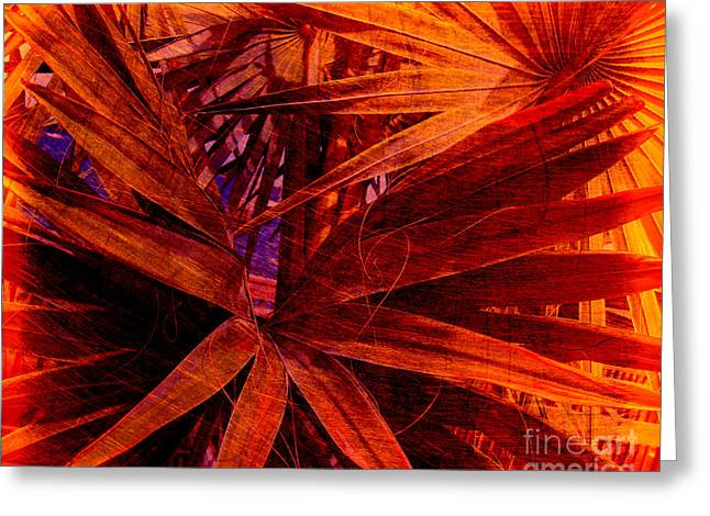 Fiery Palm Greeting Card by Susanne Van Hulst