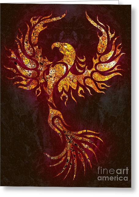 Fiery Phoenix Greeting Card by Robert Ball