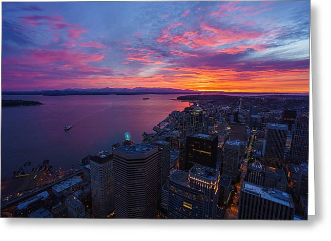 Fiery Seattle Sunset And Skyline Greeting Card by Mike Reid