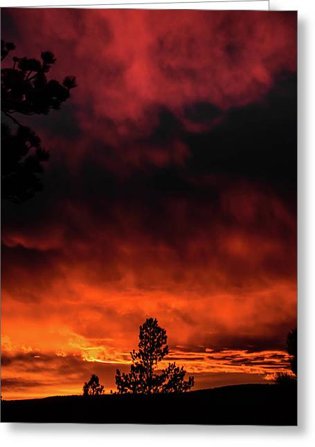 Greeting Card featuring the photograph Fiery Sky by Jason Coward