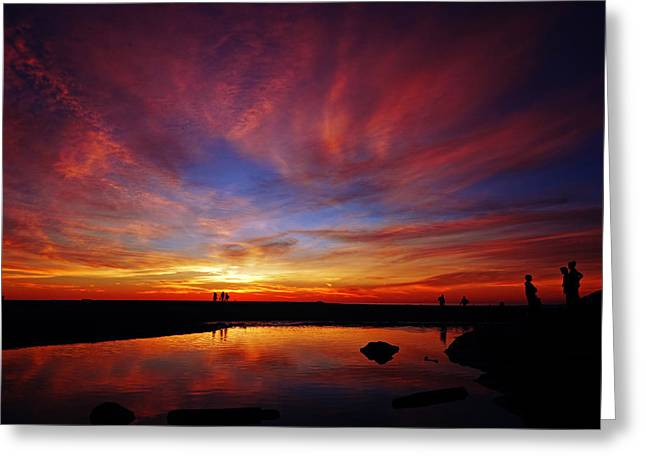Fiery Sky Greeting Card by Robert  Zuchowski
