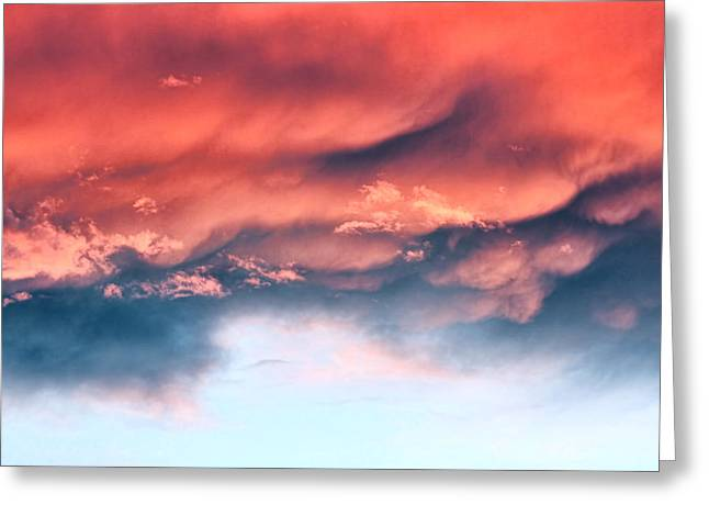 Fiery Storm Clouds Greeting Card by Tracie Kaska