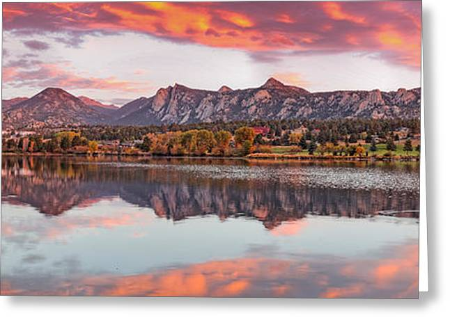 Fiery Sunrise And Alpenglow Over Estes Park - Rocky Mountain National Park Estes Park Colorado Greeting Card