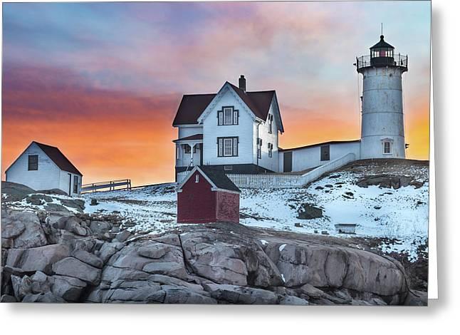 Fiery Sunrise At Cape Neddick Lighthouse Greeting Card