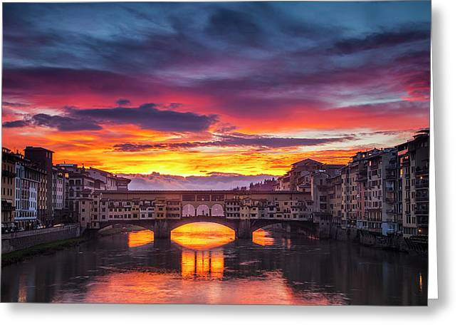 Fiery Sunrise Over Ponte Vecchio Greeting Card