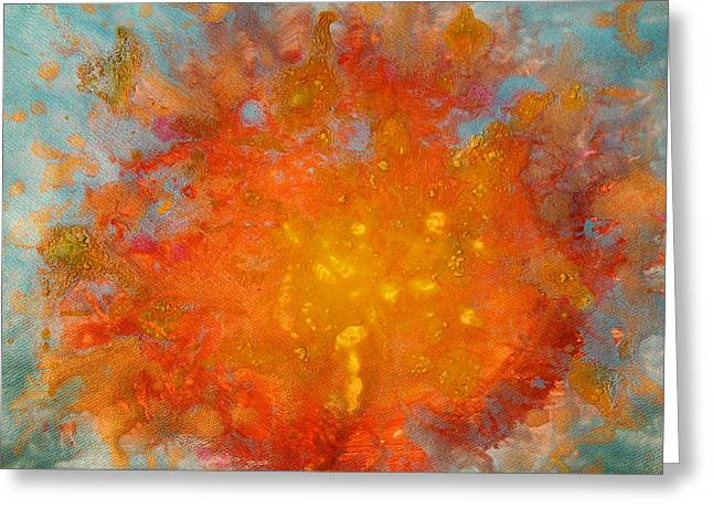Fiery Sunset Abstract Painting Greeting Card