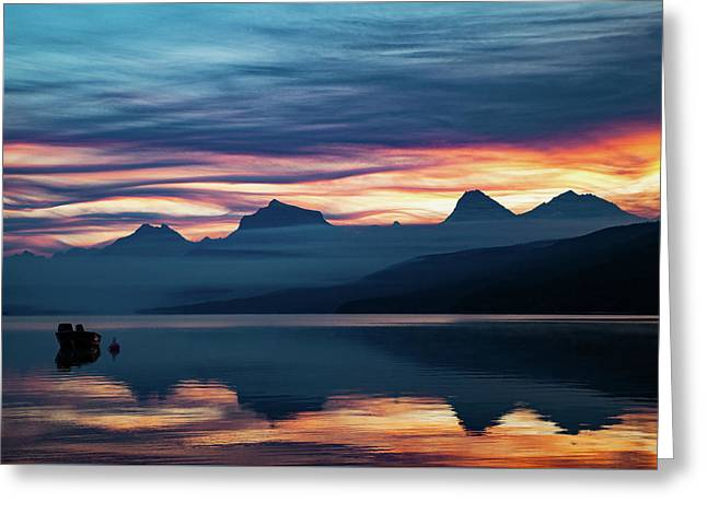 Greeting Card featuring the photograph Fiery Sunrise At Mcdonald Lake, Gnp by Lon Dittrick