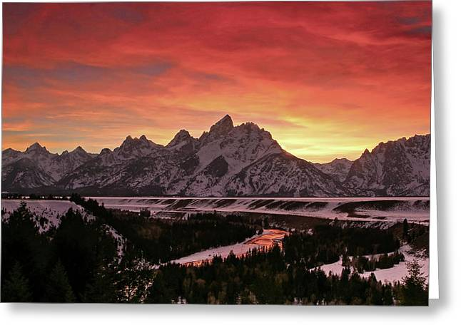 Fiery Sunset On Snake River Greeting Card