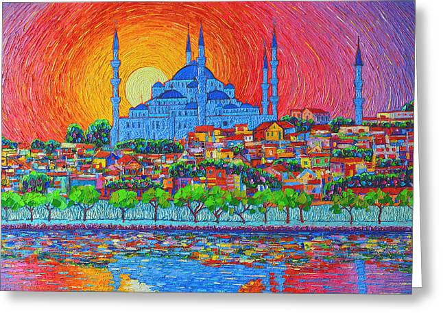 Fiery Sunset Over Blue Mosque Hagia Sophia In Istanbul Turkey Greeting Card