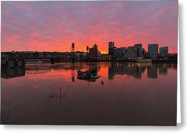 Fiery Sunset Over Portland Skyline Greeting Card by David Gn