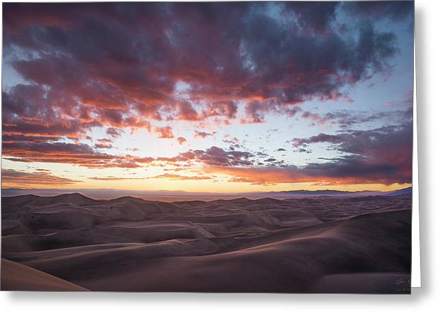 Fiery Sunset Over The Dunes Greeting Card by Aaron Spong