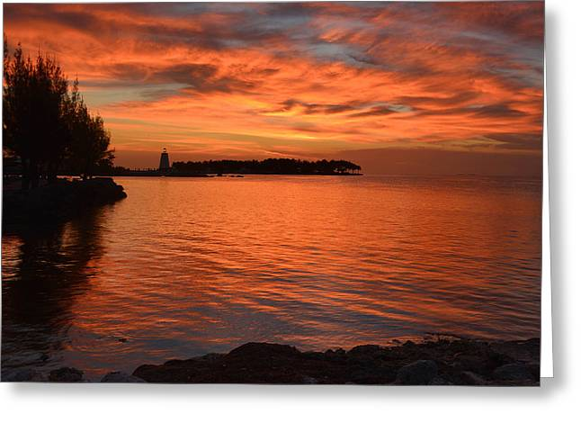 Greeting Card featuring the photograph Fiery Sunset Reflections by Stephen  Vecchiotti