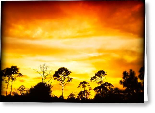 Fiery Sunset Greeting Card by Rich Leighton