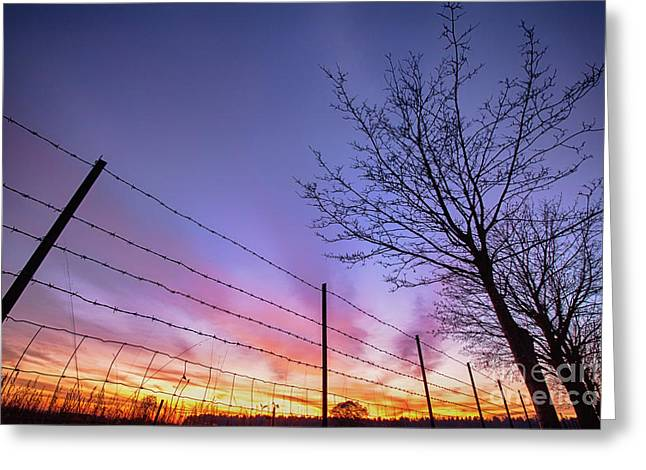 Fiery Norfolk Sunset Viewed Through Barbed Fence Greeting Card by Simon Bratt Photography LRPS