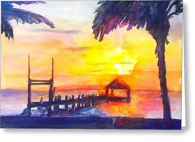 Fiery Tropical Sunset Overwater Bungalow Greeting Card