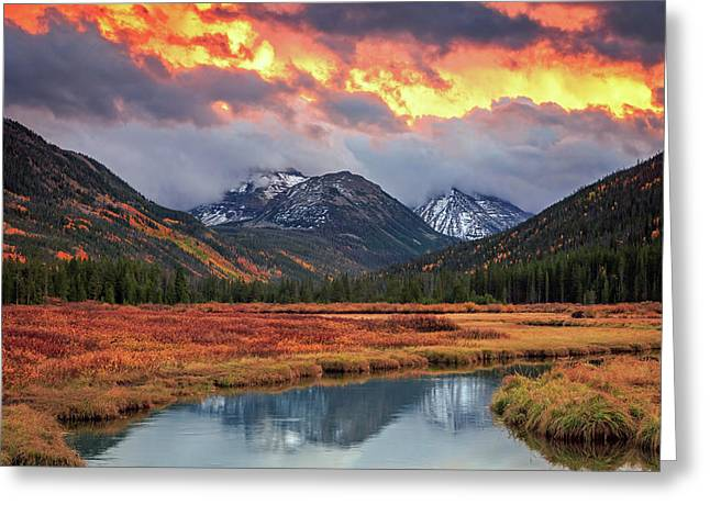 Fiery Uinta Sunset Greeting Card by Johnny Adolphson