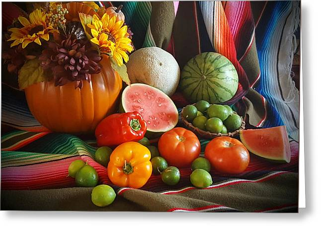 Greeting Card featuring the painting Fiesta Fall Harvest by Marilyn Smith