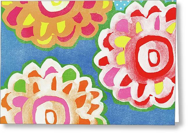 Fiesta Floral 3- Art By Linda Woods Greeting Card by Linda Woods