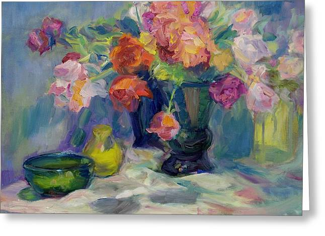 Fiesta Of Flowers - Vibrant Original Impressionist Oil Painting Greeting Card by Quin Sweetman