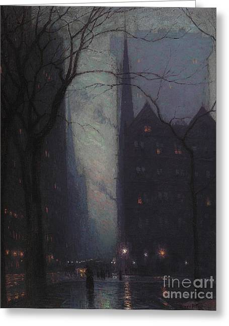 City Buildings Paintings Greeting Cards - Fifth Avenue at Twilight Greeting Card by Lowell Birge Harrison