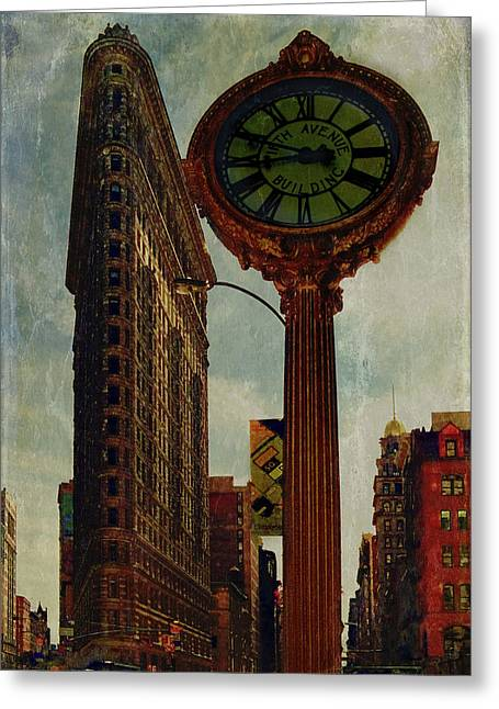 Fifth Avenue Clock And The Flatiron Building Greeting Card by Chris Lord