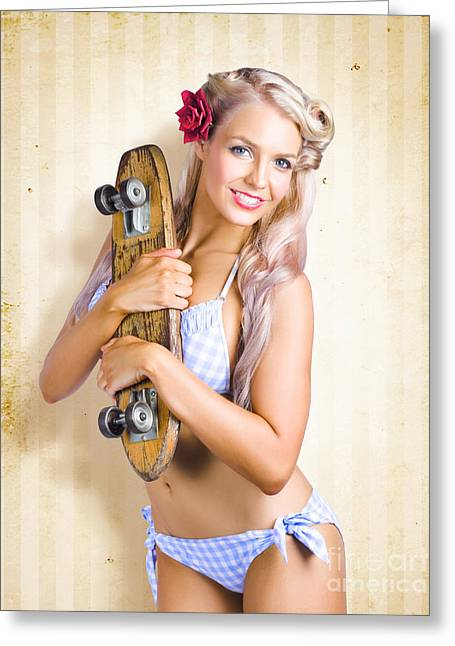 Fifties And Sixties Australian Surf Skate Culture Greeting Card