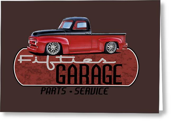 Fifties Garage Greeting Card