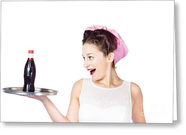 Fifties Style Female Waiter Serving Up Soda Greeting Card