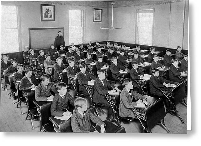 Fifty Boys In A Classroom Greeting Card by Underwood Archives