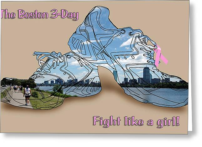 Sneakers Greeting Cards - Fight Like a Girl Greeting Card by Ross Powell