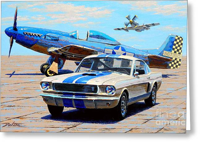 North American Greeting Cards - Fighter and Shelby Mustangs Greeting Card by Frank Dalton