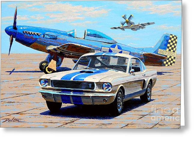 Fighter And Shelby Mustangs Greeting Card by Frank Dalton