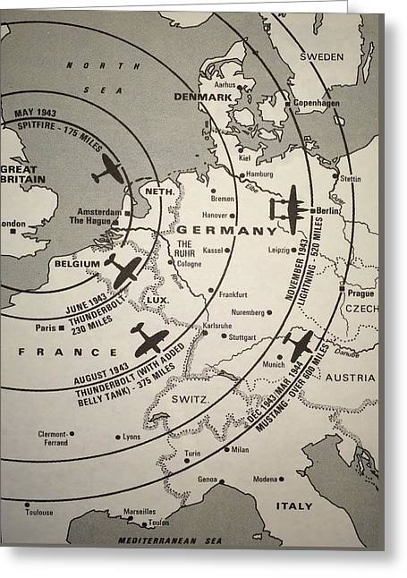 Fighter Escort And Bomber Ranges European Theatre Ww2 Greeting Card