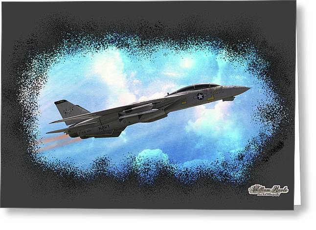 Fighter Jet F-14 In The Clouds Greeting Card by William Havle