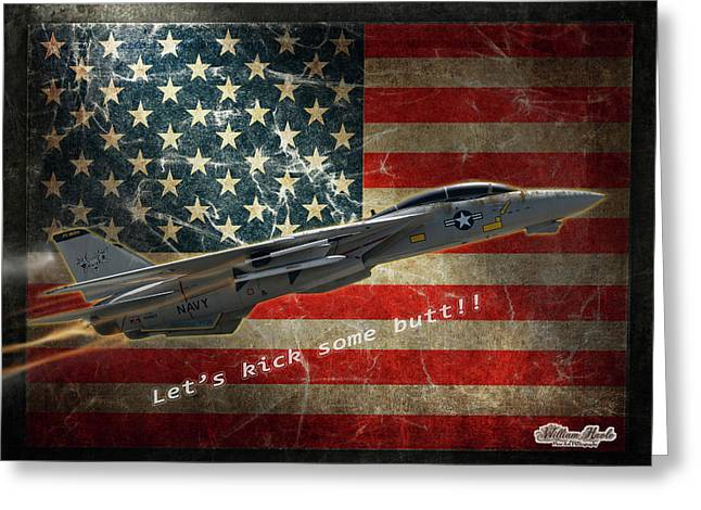 Fighter Jet F14 Kick Butt Greeting Card by William Havle