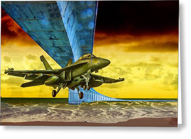 Fighter Jet Under The Bridge And In For A Landing On The Beach Greeting Card by Elaine Plesser