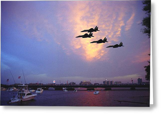 Fighter Jets Over Boston Greeting Card by Rose Martin